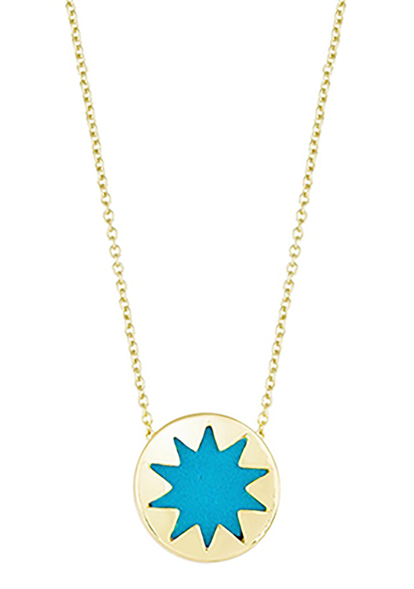 House of Harlow 1960 Mini Sunburst Pendant Necklace in Gold/Teal