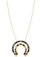 House of Harlow 1960 Nelli Pendant Necklace in Gold/Black