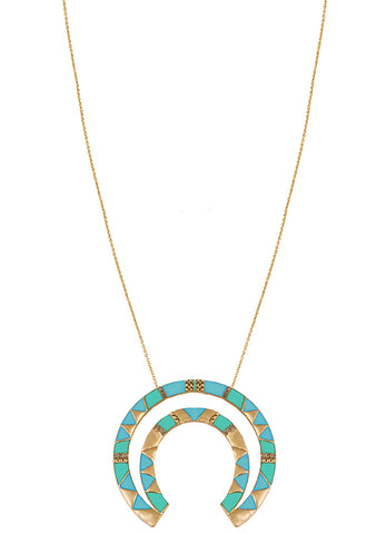 House of Harlow 1960 Nelli Pendant Necklace in Gold/Turquoise