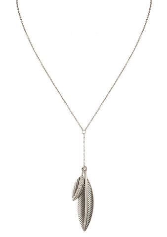 House of Harlow 1960 Sacred Leaf Y Necklace in Silver