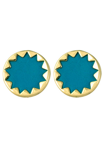 House of Harlow 1960 Sunburst Button Earrings in Gold/Teal
