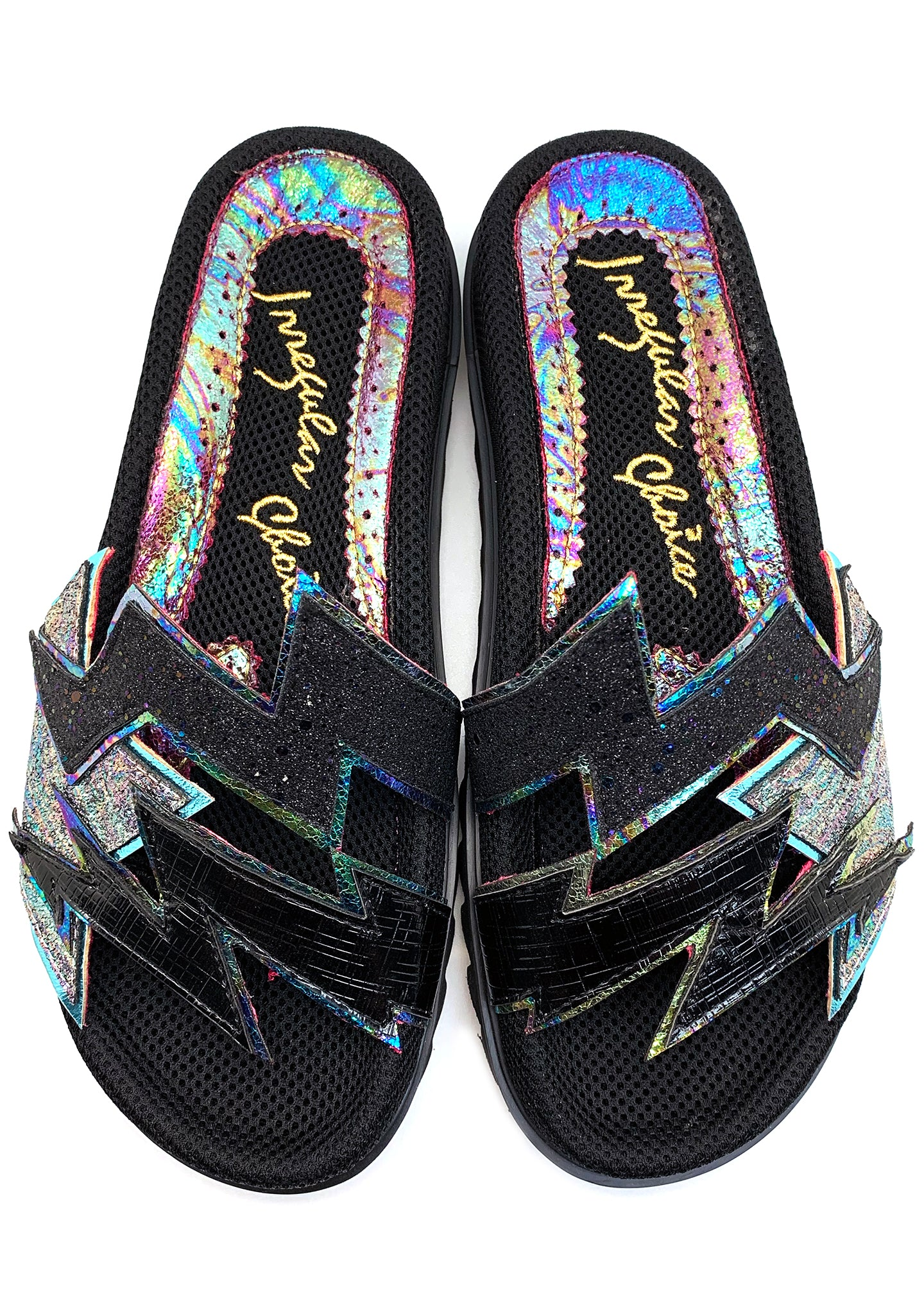 Irregular Choice Electric Thunderbolt Slippers in Black