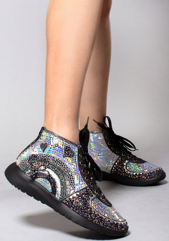 Irregular Choice Stride Of Pride Sneakers in Black/Silver