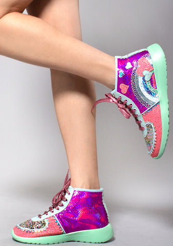 Irregular Choice Stride Of Pride Sneakers in Pink/Mint