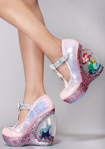 X Disney Little Mermaid Make a Splash Platform Wedge Heels