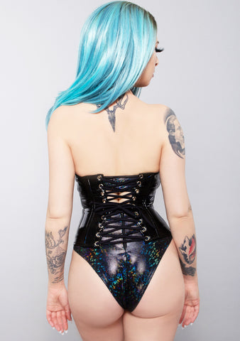Holographic Black Feather Hourglass Waist Cincher