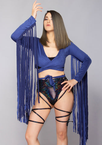 Karma Fringe Wrap Top in Navy