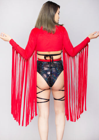 Karma Fringe Wrap Top in Red