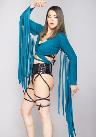Karma Fringe Wrap Top in Teal
