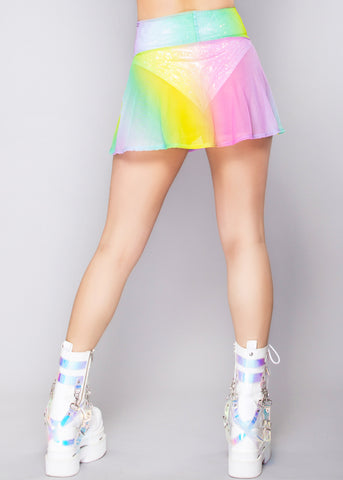 Lolita Mesh Skater Skirt in Rainbow