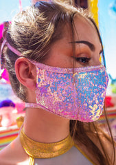 Pearly Pink Sequin Dust Mask