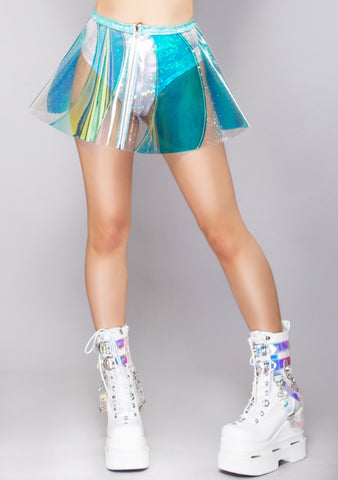 Sea Ice Holographic Pinwheel Vinyl Skirt