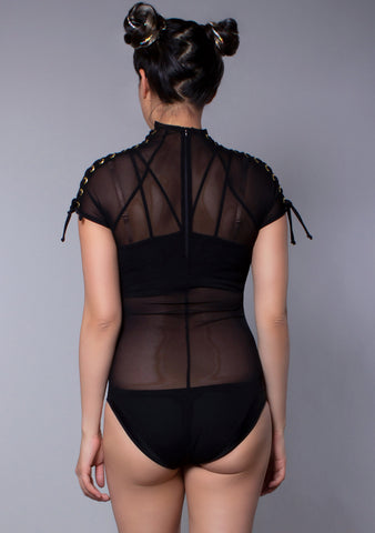 J Valentine Mesh Lace Up Bodysuit in Black