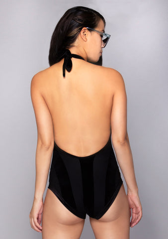 Black Velvet Lace Up Bodysuit