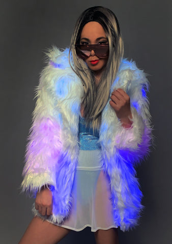 Cotton Candy Ombre Light Up Faux Fur Jacket