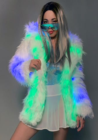 Electric Karnival Ombre Light Up Faux Fur Jacket