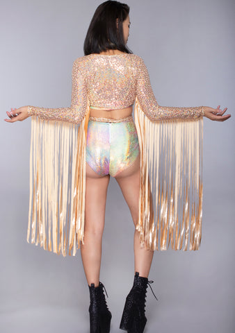 Go For Gold Karma Fringe Sequin Wrap Top in Rose Gold Shimmer