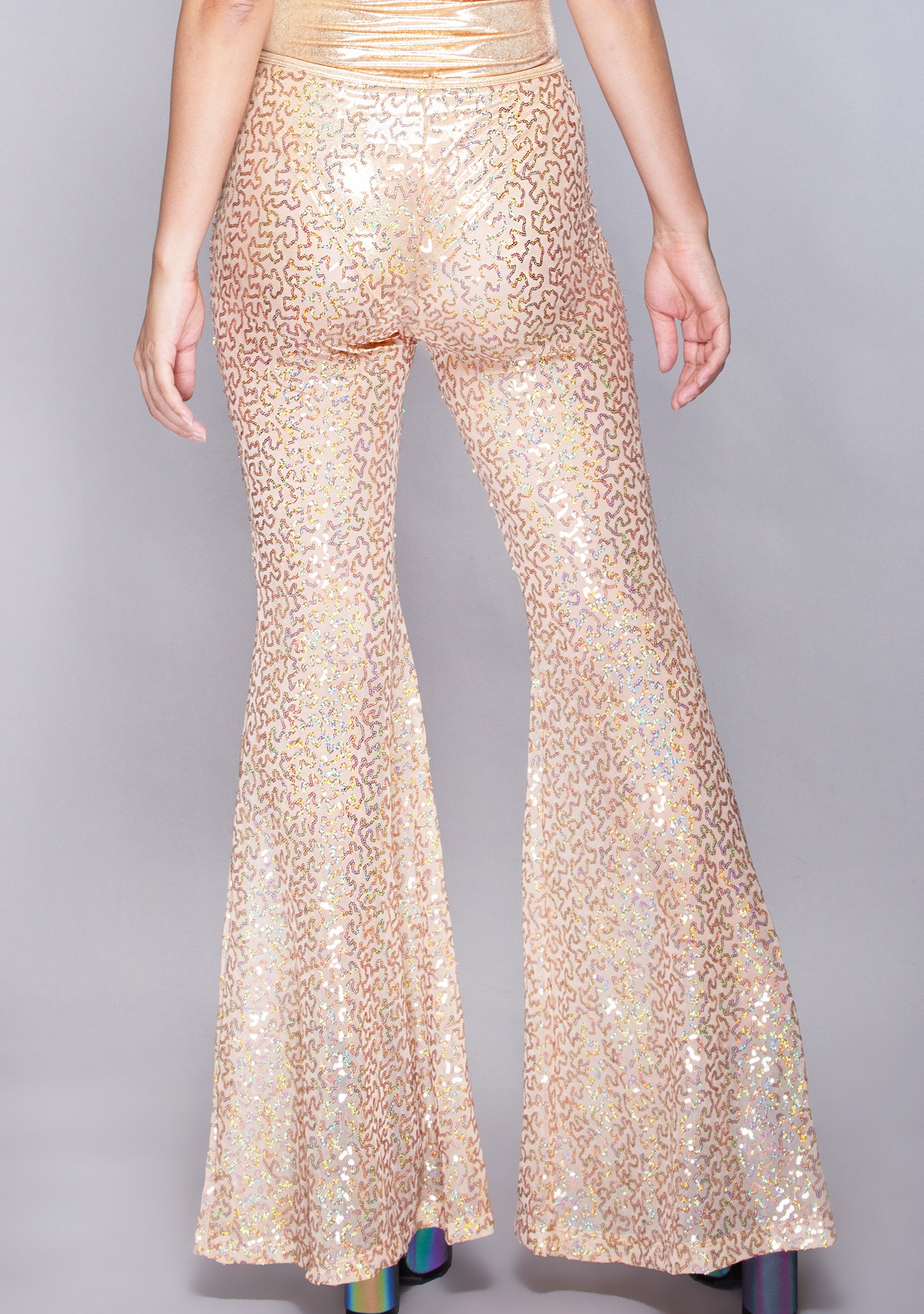 Go For Gold Sequin Bell Bottoms in Rose Gold Shimmer