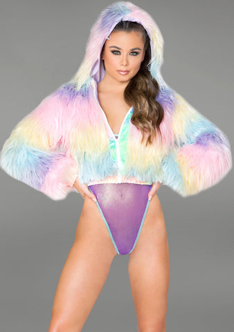 J Valentine Candyland Flashing Light Cropped Jacket in Pastel