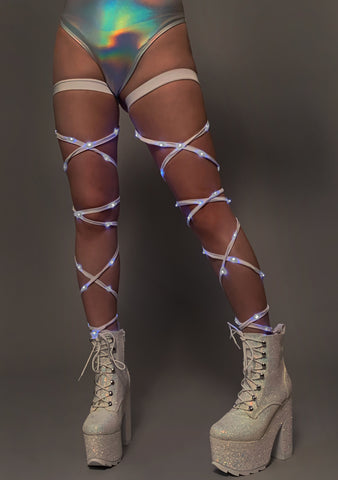 Light Up Leg Wraps in White/White