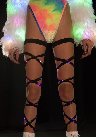 J Valentine Light Up Leg Wraps in Black/Pink