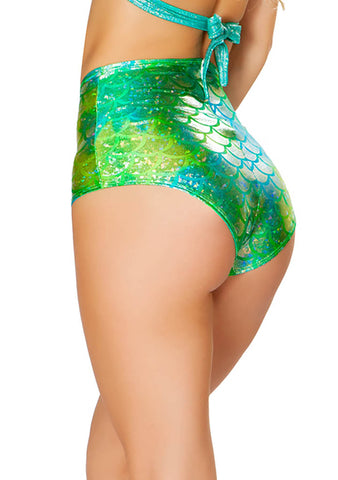 J Valentine Mermaid High Waisted Shorts in Koi Blue/Green