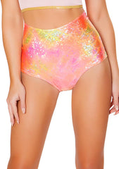 J Valentine Mermaid High Waisted Shorts in Koi Pink/Orange