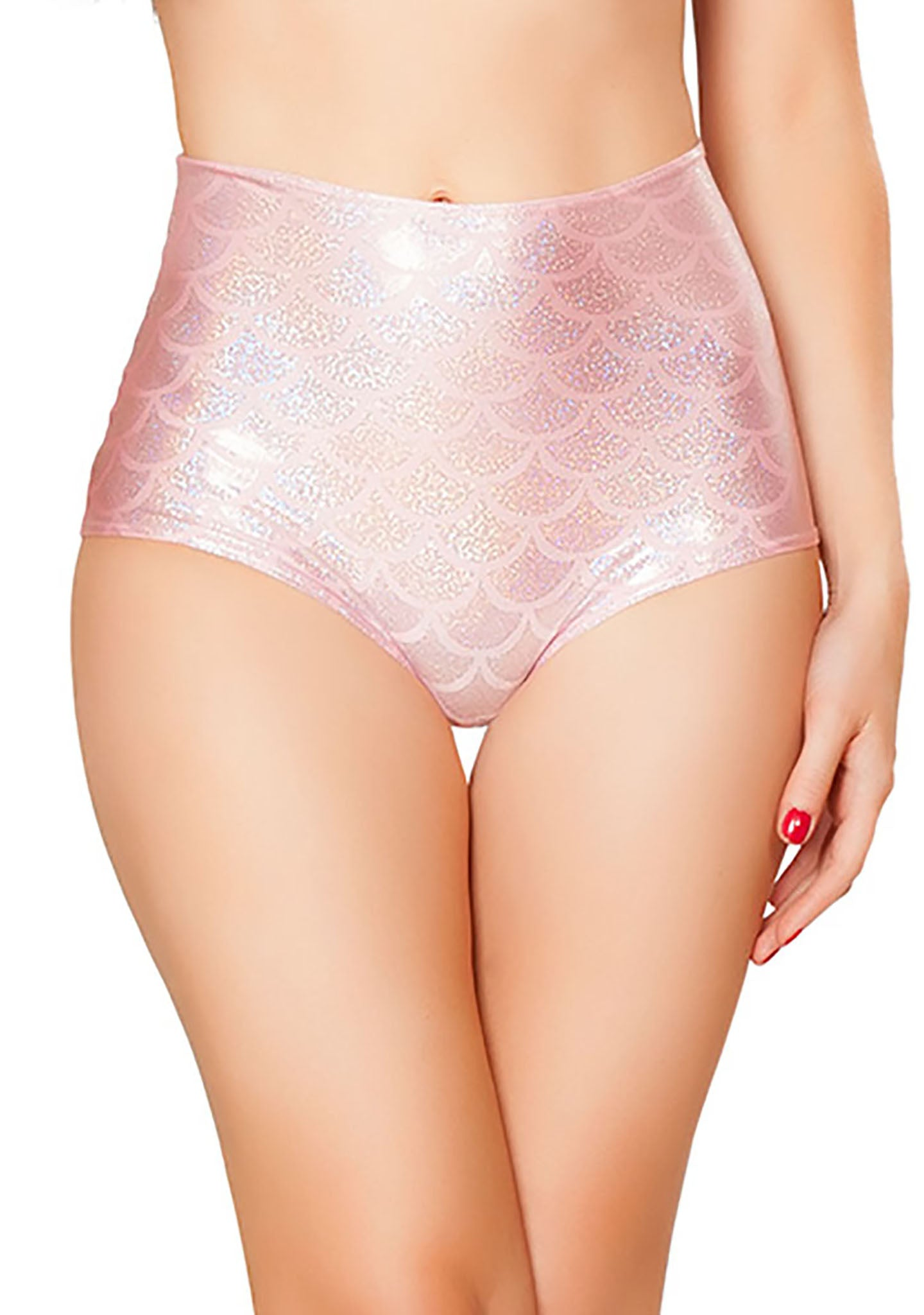 J Valentine Mermaid High Waisted Shorts in Baby Pink