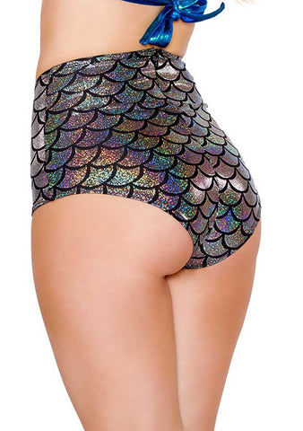 J Valentine Mermaid High Waisted Shorts in Silver