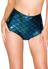 J Valentine Mermaid High Waisted Shorts in Turquoise