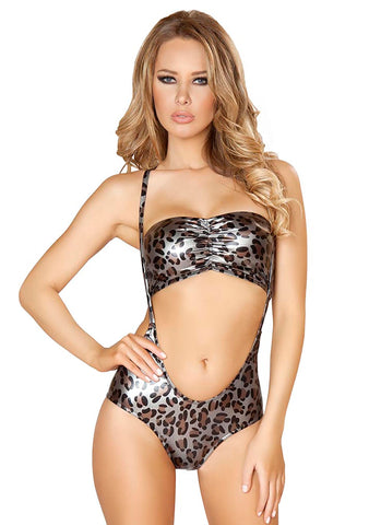 J Valentine Metal Leopard Top & Suspender 2pc Set