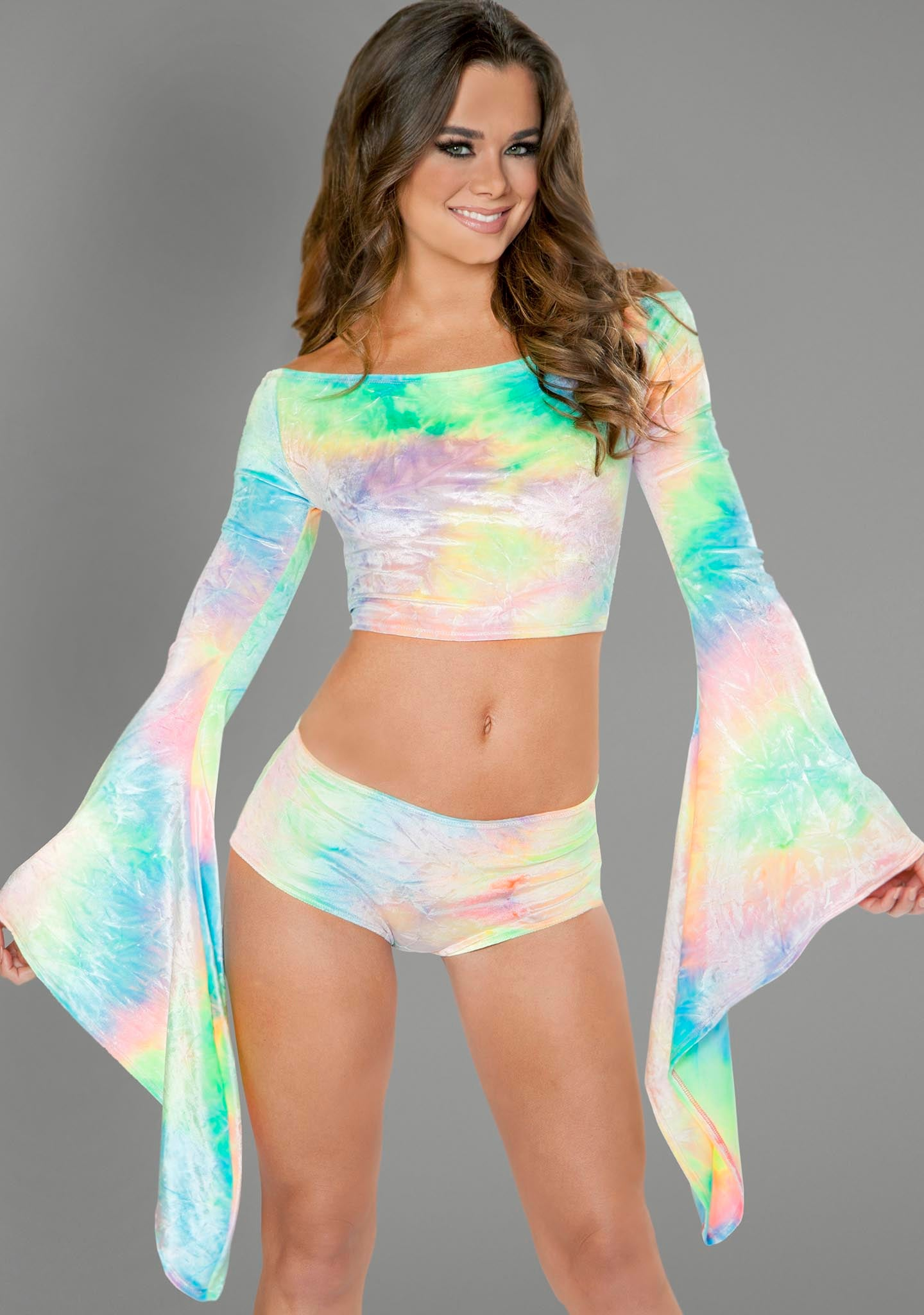 Gypsy Crop Top in Pastel Tie Dye