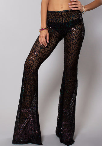 J Valentine Shimmer Sequin Bell Bottoms in Black