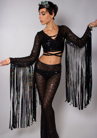 J Valentine Shimmer Sequin Karma Fringe Wrap Top in Black