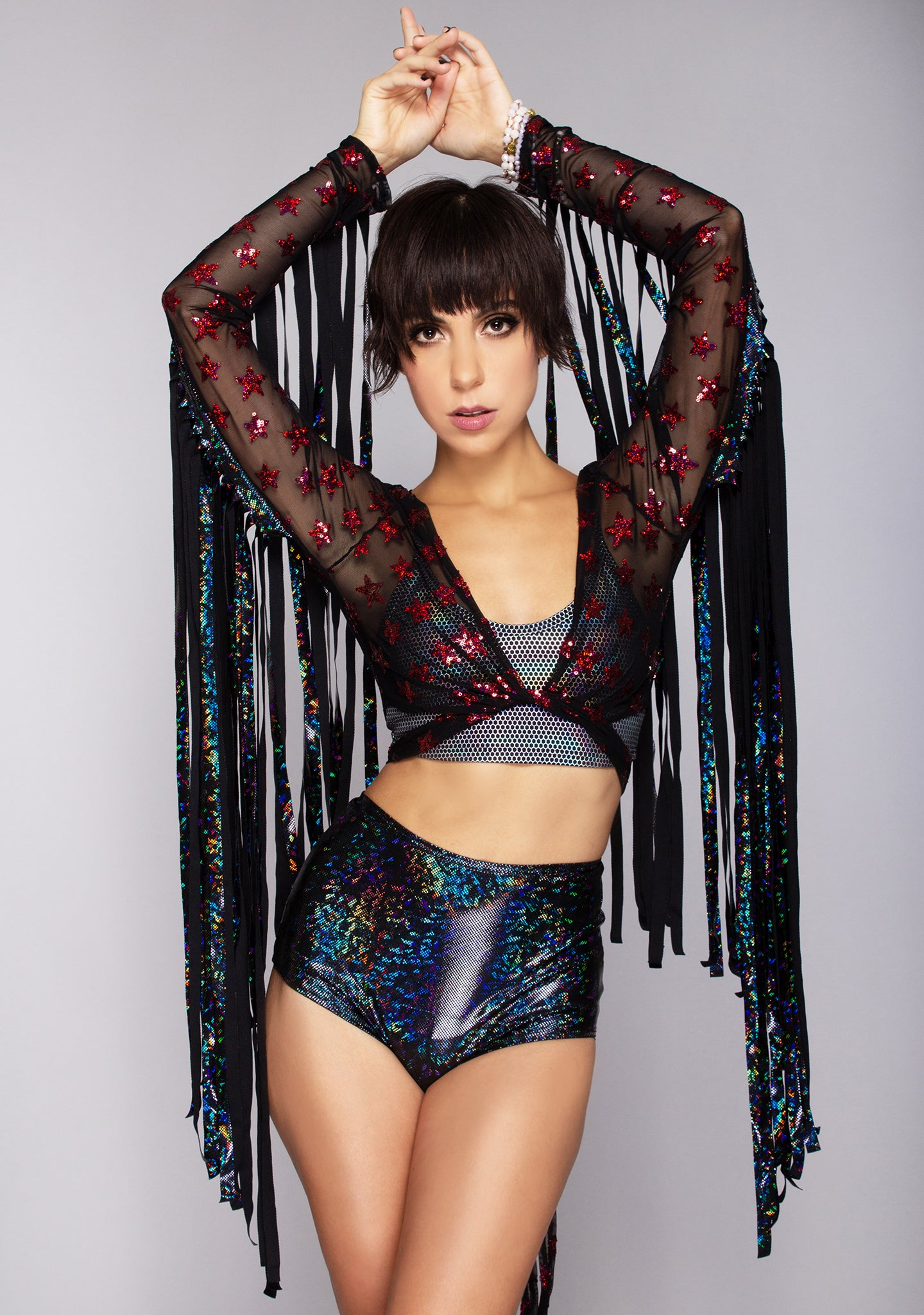 Starscape Karma Fringe Sequin Wrap Top