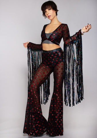 Starscape Sequin Bell Bottoms in Black/Red