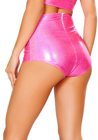 J Valentine High Waisted Shorts in Hot Pink Twinkle