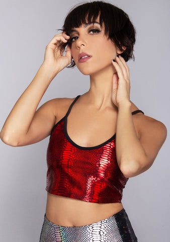 Venom Riot Metallic Spaghetti Tank in Red Cobra