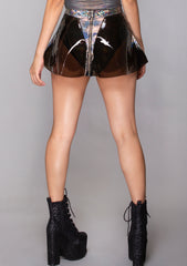 Vinyl Skater Skirt in Black