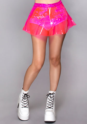 Vinyl Skater Skirt in Hot Pink