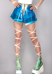 Vinyl Skater Skirt in Blue