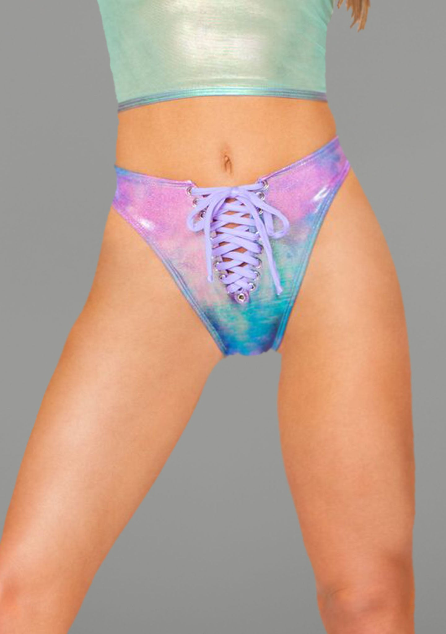 Metallic Lace-Up Bottoms in Cotton Kandi Tie-Dye