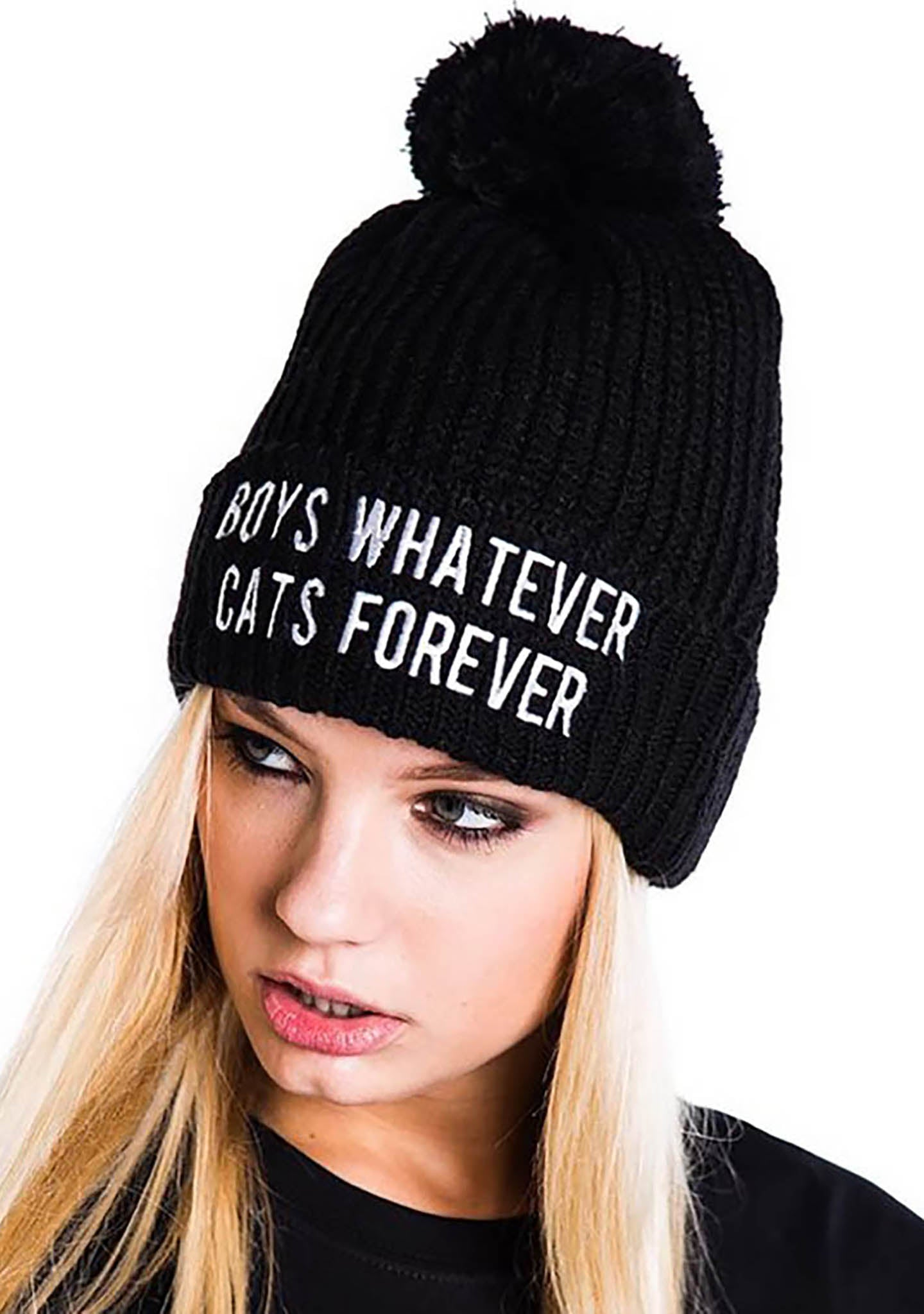 KILL STAR Boys Cats Pom Pom Beanie Hat 69ffdef86d0