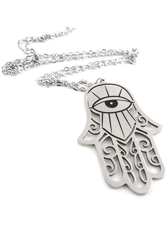 KILL STAR Hamsa Necklace in Silver