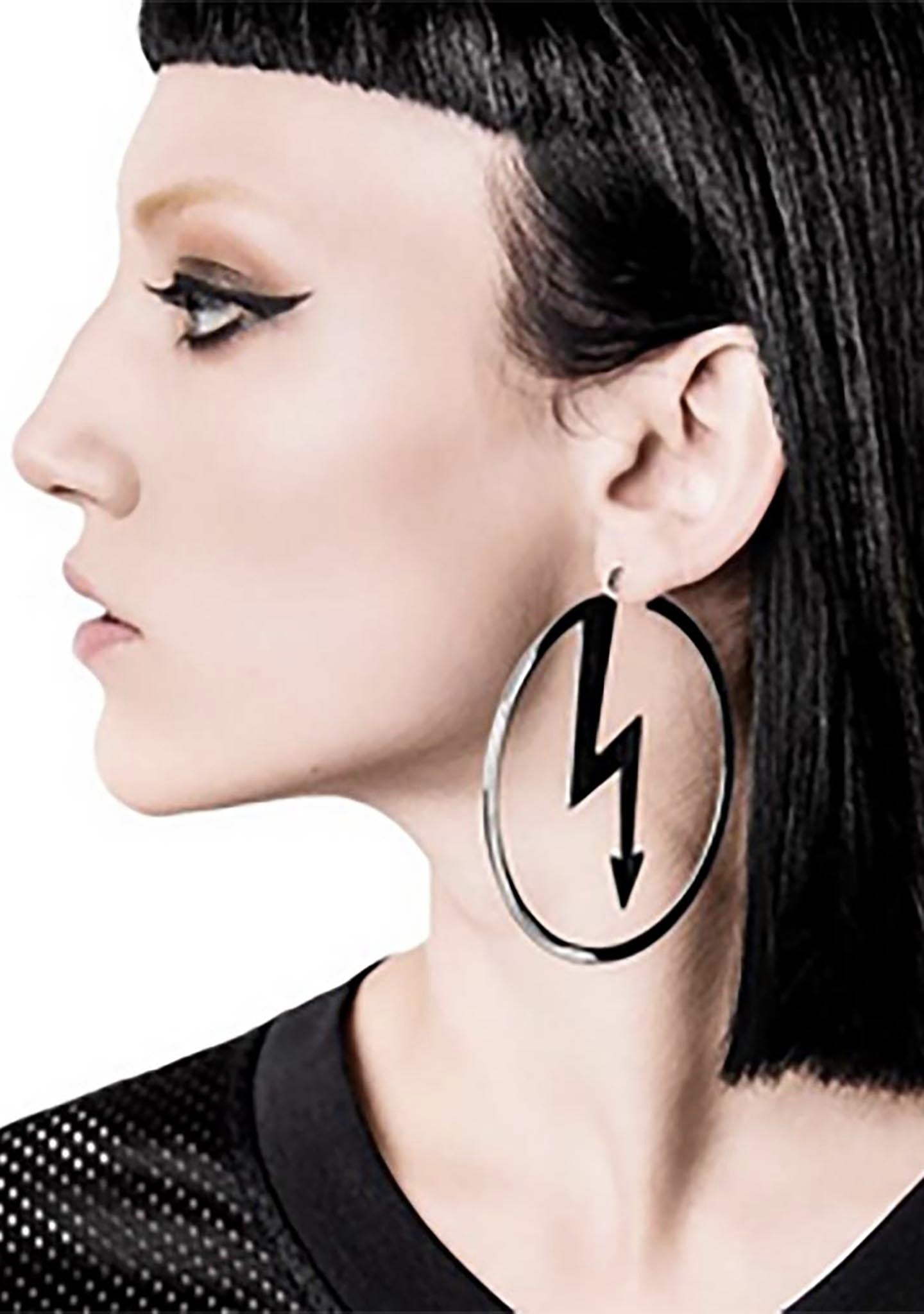 KILL STAR X Marilyn Manson Number Seven Hoop Earring in Silver