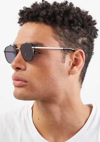 KOMONO CRAFTED Alex Sunglasses in Silver/Black