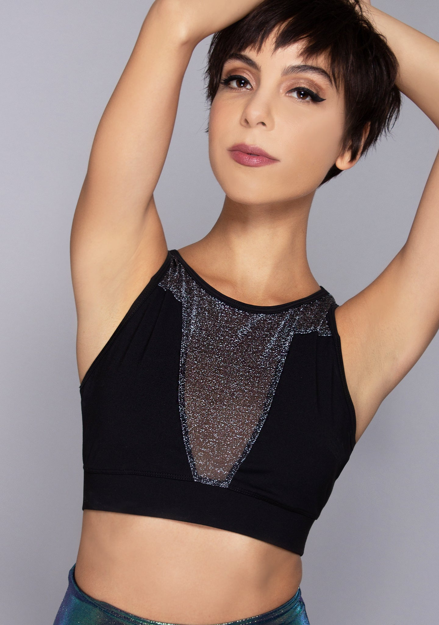 Dip It Low Sparkling Mesh Bra Top