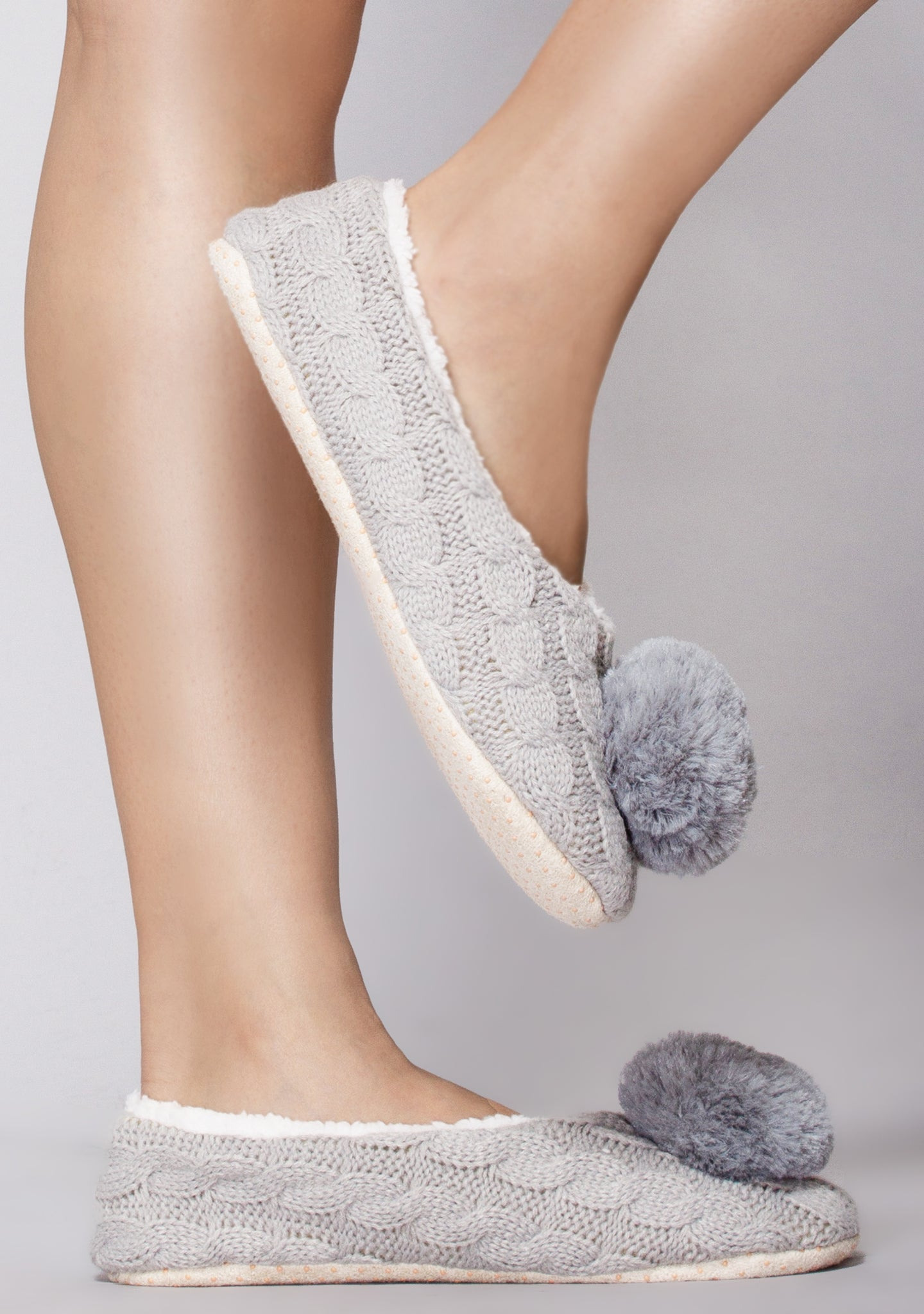 North Pole Pom Knit Slippers