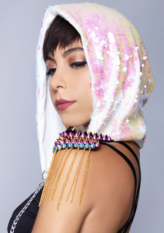 Opal Oasis Sequin Hood in White Pearlescent