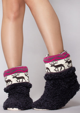 Reindeer Games Bootie Slippers